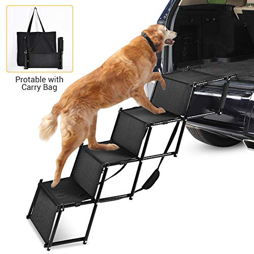 NAFURNO Foldable Car Dog Step Stairs U2013 Metal Frame Folding Pet Ramp Used As  Ladder For Tall Couch, Bed, Chair Or Car, Protect Petsu0027 Joint And Knee ...